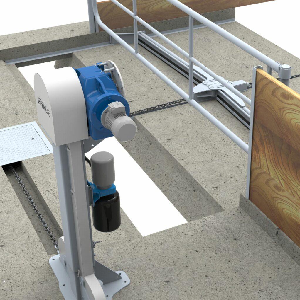 Manure scraper equipment for cattle